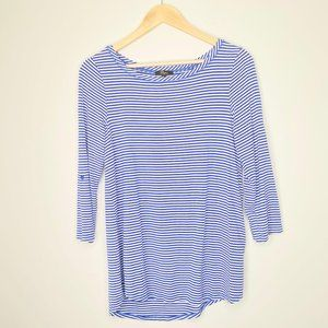 Cupio Blue & White Striped 3/4 Sleeve Shirt Medium